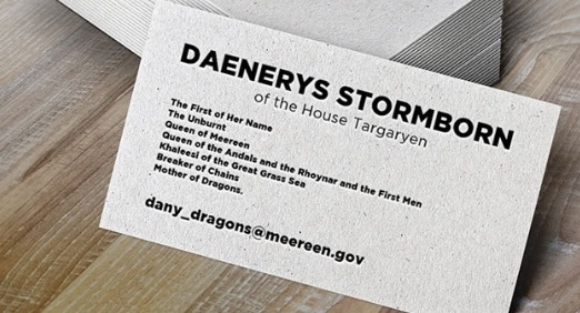 "A brilliant ""Game of Thrones"" fan made Dany these A+ business cards"