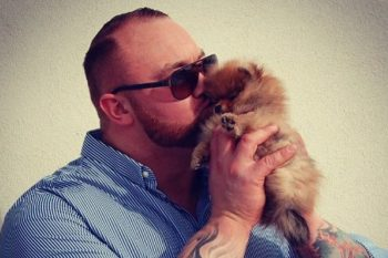 "The guy who plays The Mountain on ""Game of Thrones"" has the cutest, tiniest puppy"
