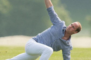 Prince William just did yoga in white jeans because royals are good at everything