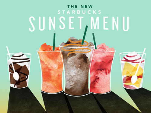 "Starbucks is coming to our rescue again with a delicious new ""Sunset Menu"""