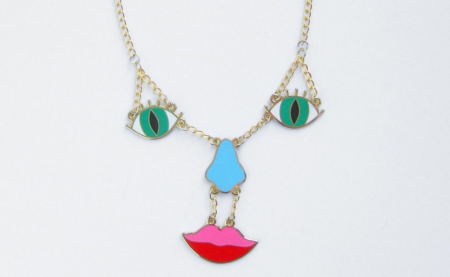 Make faces at everyone with this adorable necklace
