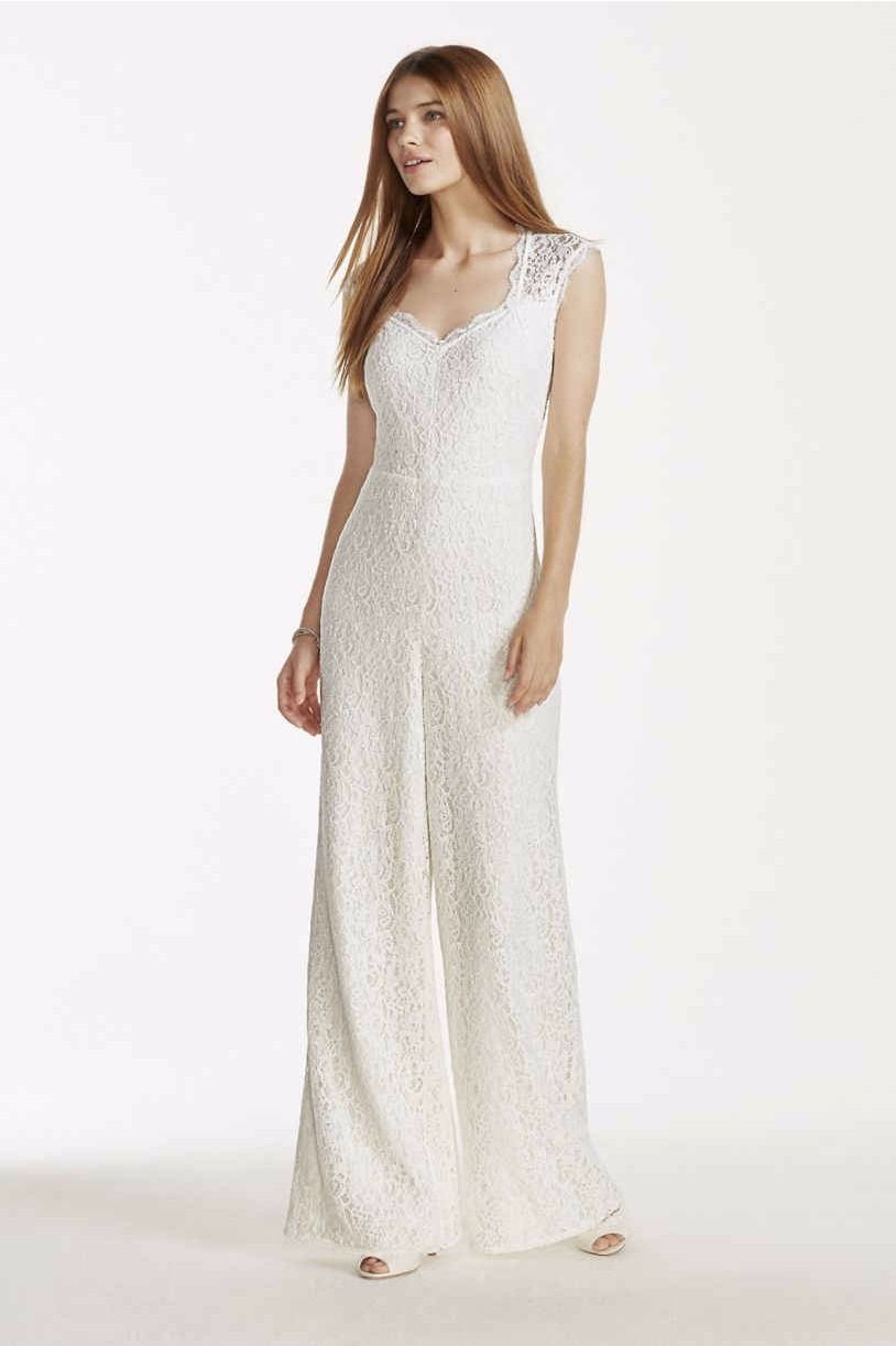 Wedding Bridal Jumpsuits 11 chic and affordable wedding jumpsuits because yes you can v neck lace jumpsuit 139 99 davids bridal