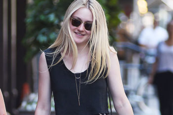 We're obsessed with Dakota Fanning's adorable polka dot one-piece swimsuit