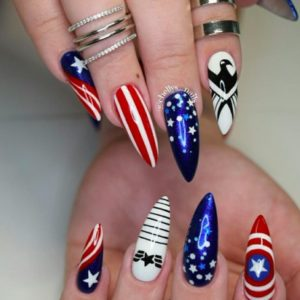 Here's some red, white, and blue nail art for some serious 4th of July inspo