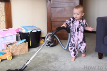 This dad taught his baby to clean the house — but there's one chore she won't do