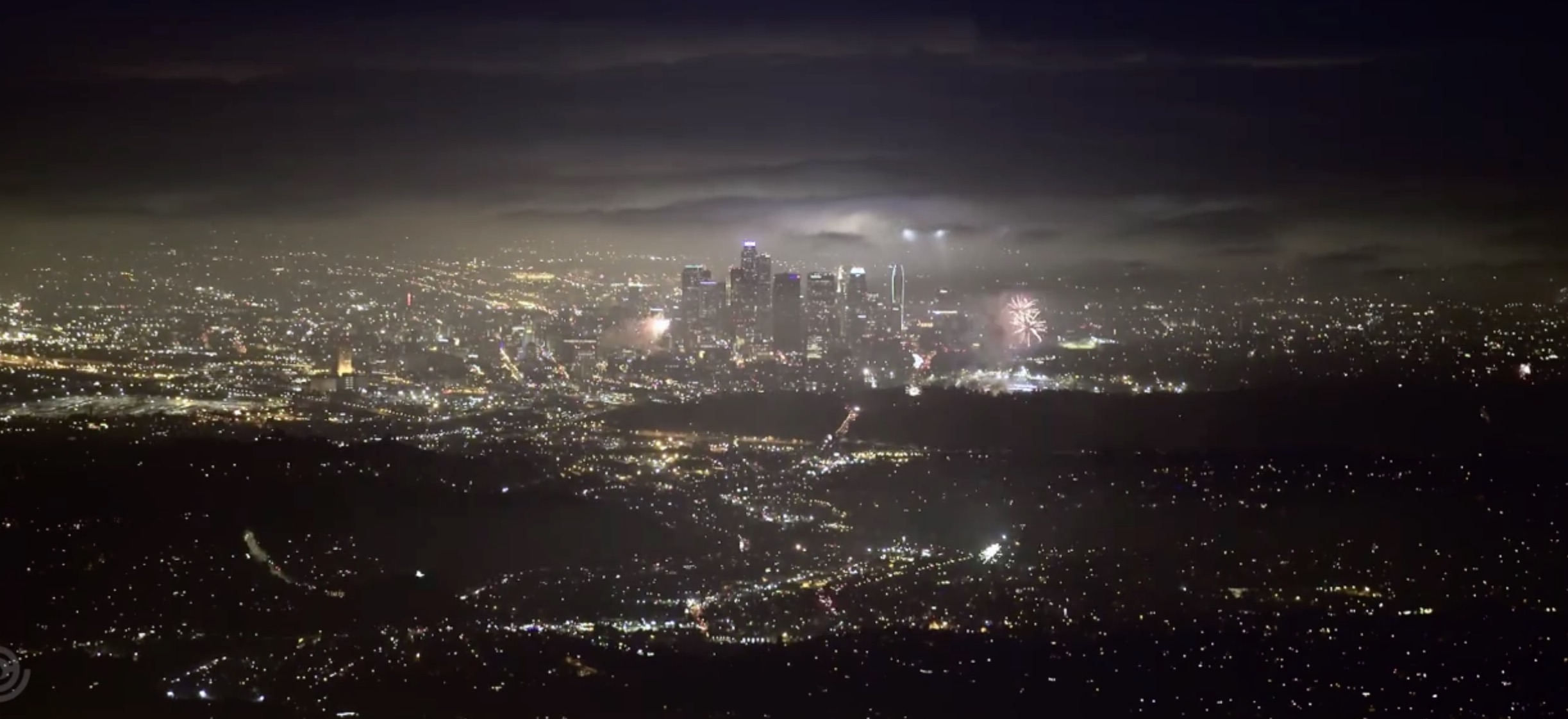 This panorama view of Los Angeles fireworks is beautiful!