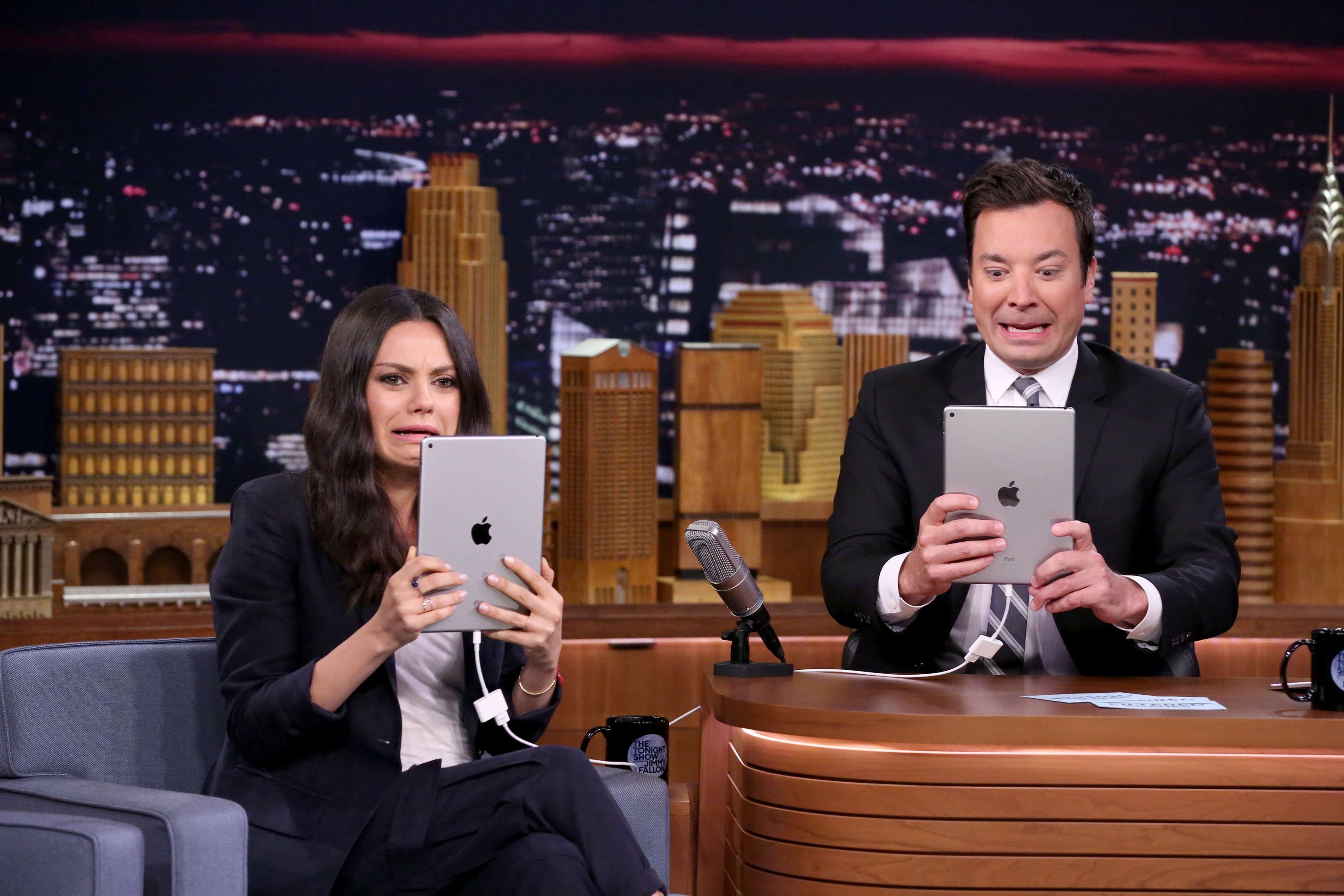 Mila Kunis and Jimmy Fallon crack themselves (and us) up while playing with Photo Booth filters
