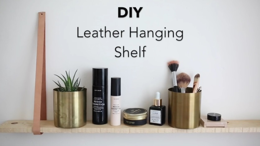 This rustic DIY hanging leather shelf needs to be your easy project this weekend