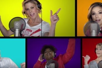 "Elizabeth Banks, Mandy Moore, Idina Menzel, and so many other celebs performed DNC theme ""Fight Song"""
