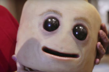 Eww! This Lego man made out of human skin is SO creepy (and we kinda dig it)