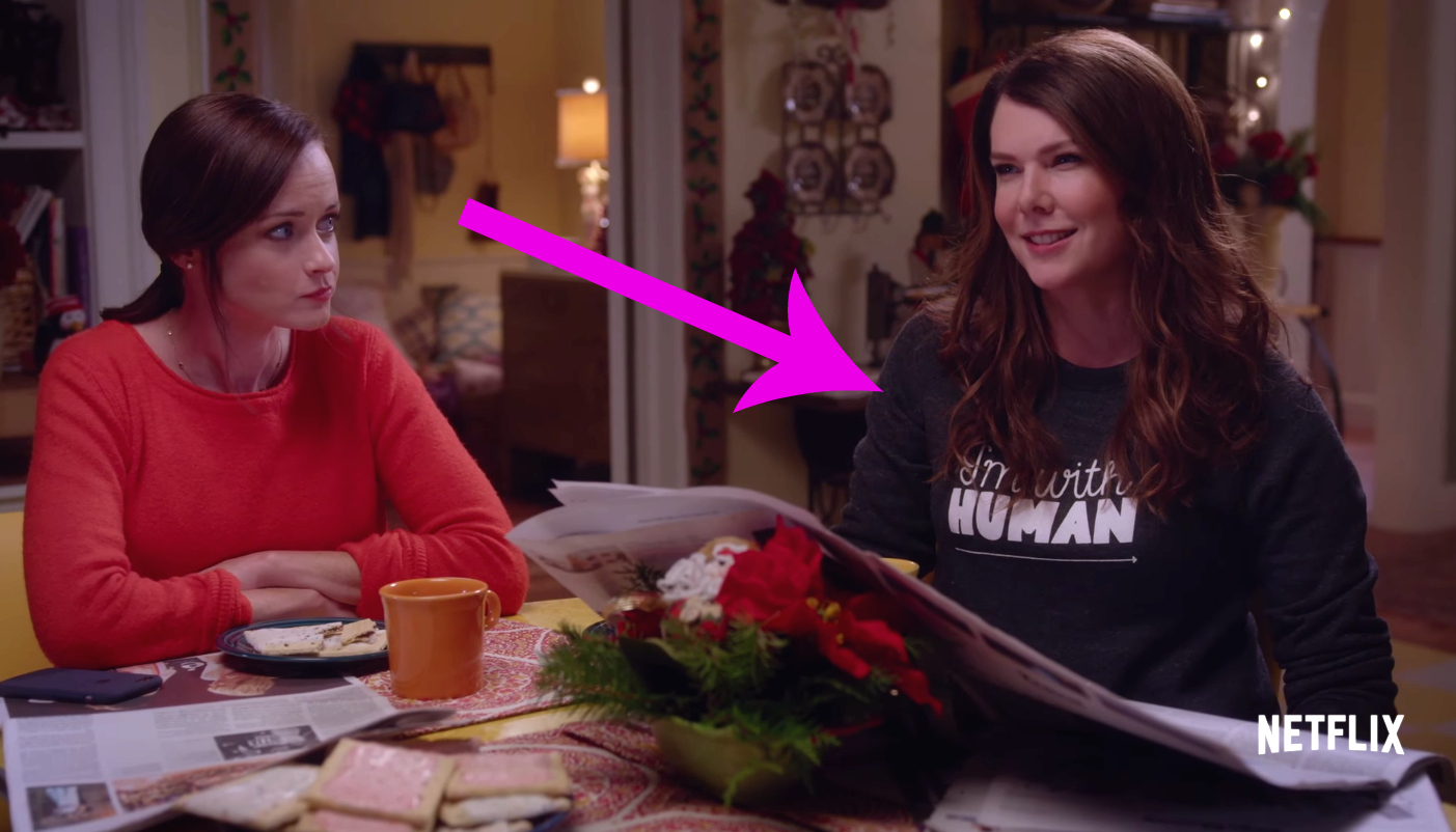 "Here's where you can get Lorelai's sweatshirt in the ""Gilmore Girls"" trailer, because you need it"