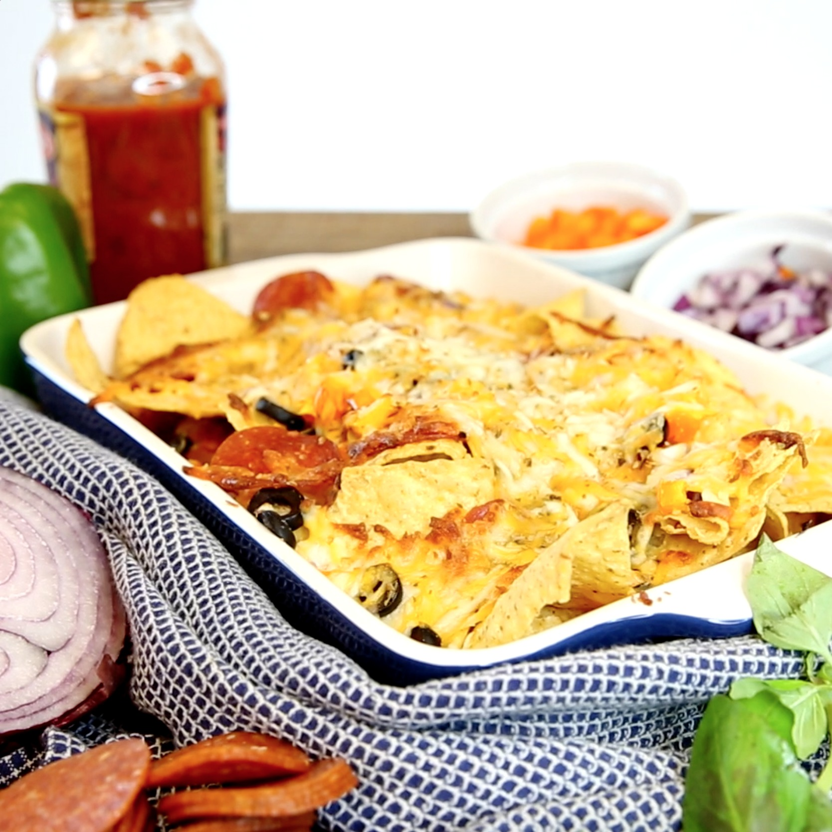 These Pizza Nachos are all we want to eat forever and ever
