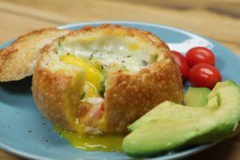 This breakfast bread bowl is the cheesy dream come true that you can actually make