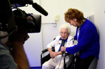 "Hillary Clinton's oldest delegate 102-year-old Geraldine ""Jerry"" Emmett has been waiting a very long time for this day"