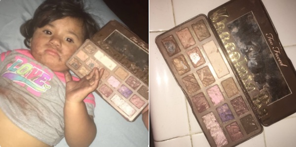 This baby ate a Too Faced makeup palette because she thought it was candy