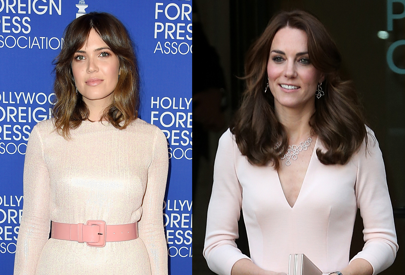 Mandy Moore is giving us serious Kate Middleton vibes in this pale pink number