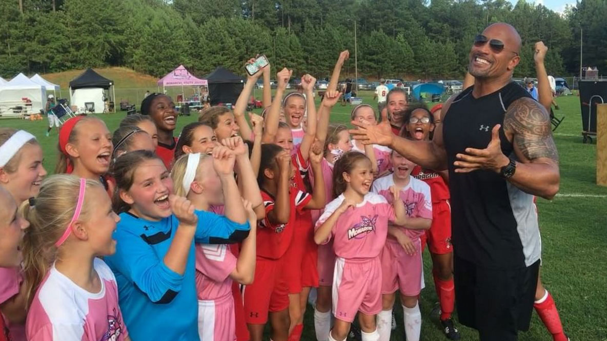 "The Rock led a girls' soccer team in a Haka for ""Fast and Furious 8,"" and it's pure girl power"
