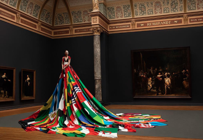 This trans model wore a gown made from flags where homosexuality is forbidden