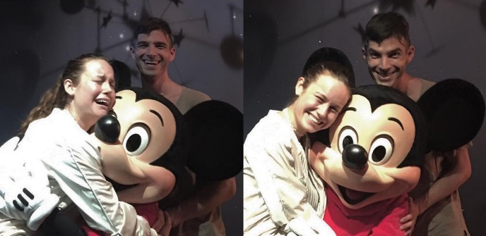 Brie Larson meeting Mickey Mouse and having a complete meltdown is all of us