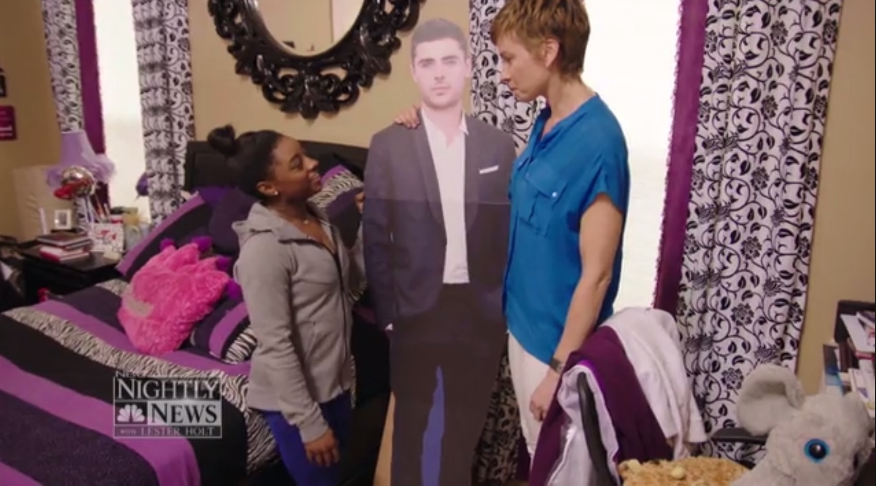 Simone Biles has a life-size Zac Efron cutout and we're losing it