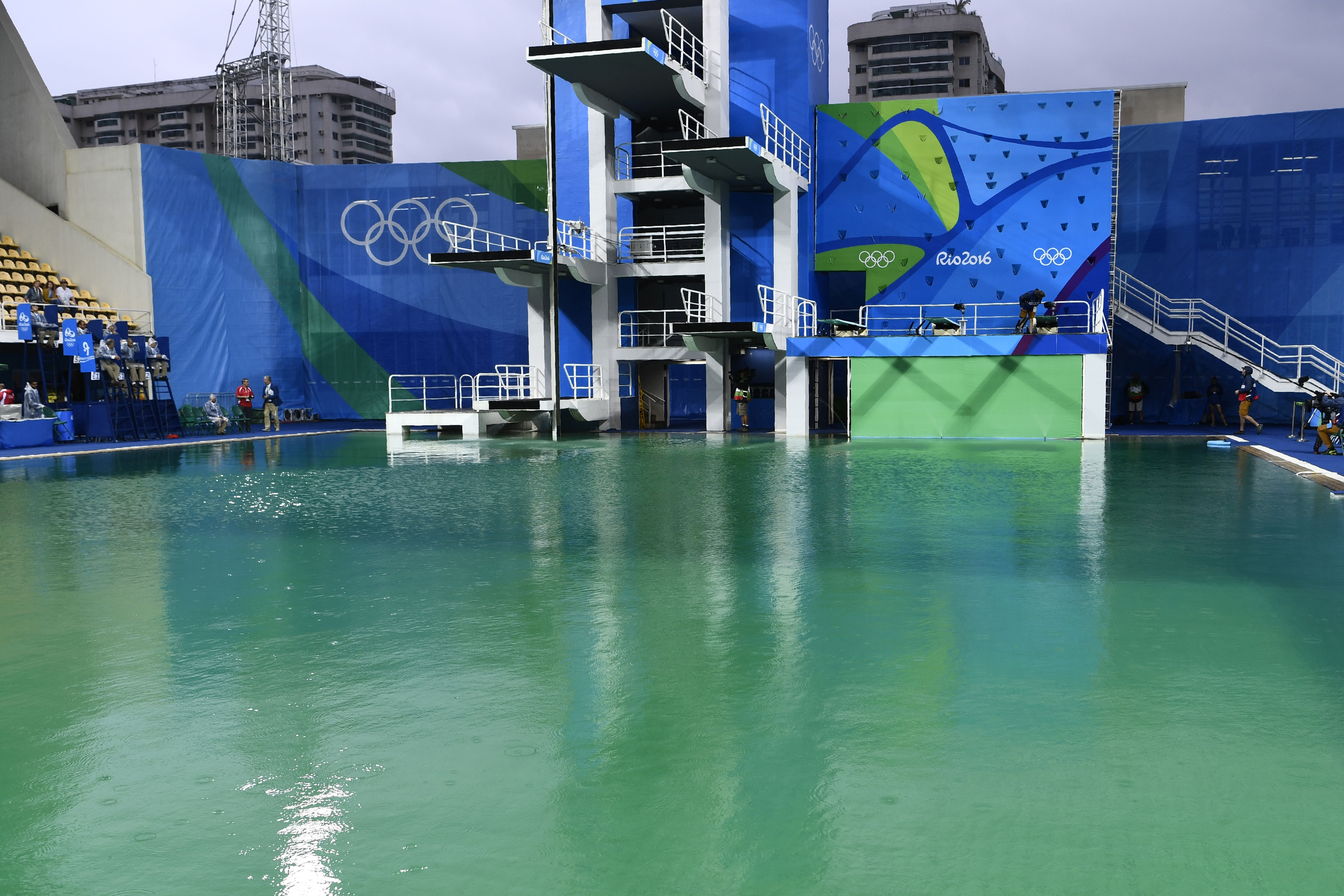 Whoa: The VERY green Olympic diving pool has officially been shut down