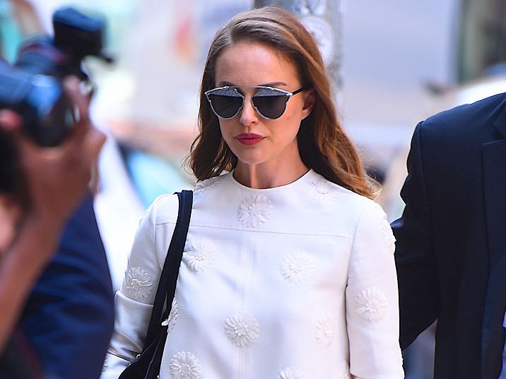 Natalie Portman looks like a modern go-go dancer in this floral two-piece