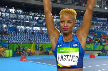 Sprinter Natasha Hastings rocked a gorgeous fuchsia lip color, and we need it now
