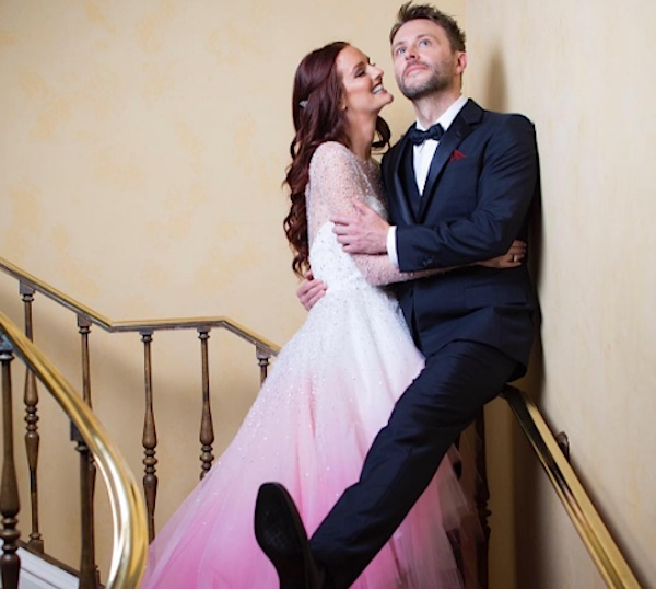 Lydia Hearst's wedding dress was a pink lover's dream