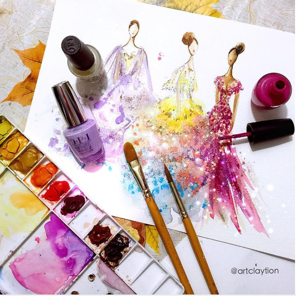 These incredibly gorgeous fashion sketches were made with nail polish and we're stunned!
