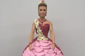 We love everything about this cake that features a Ken doll in a dress