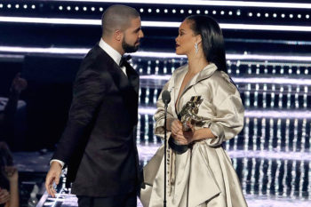 Rihanna leans in to kiss Drake as they walk offstage and yep, it's still adorably awkward