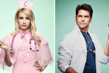 "Emma Roberts and John Stamos cuddle up in the latest ""Scream Queens"" promo"