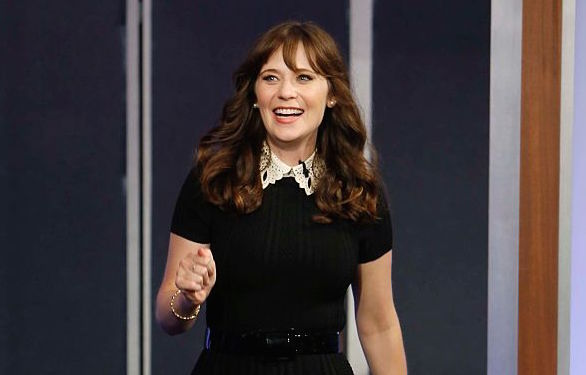 Zooey Deschanel's witchy look on Jimmy Kimmel was totally Wednesday Addams chic