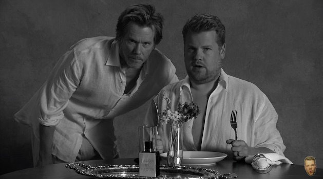 Kevin Bacon promotes bacon-scented cologne with James Corden, and it's perfect
