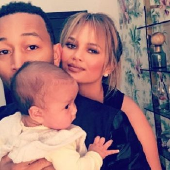 Instant happiness: Chrissy Teigen dances with baby Luna while John Legend plays the piano