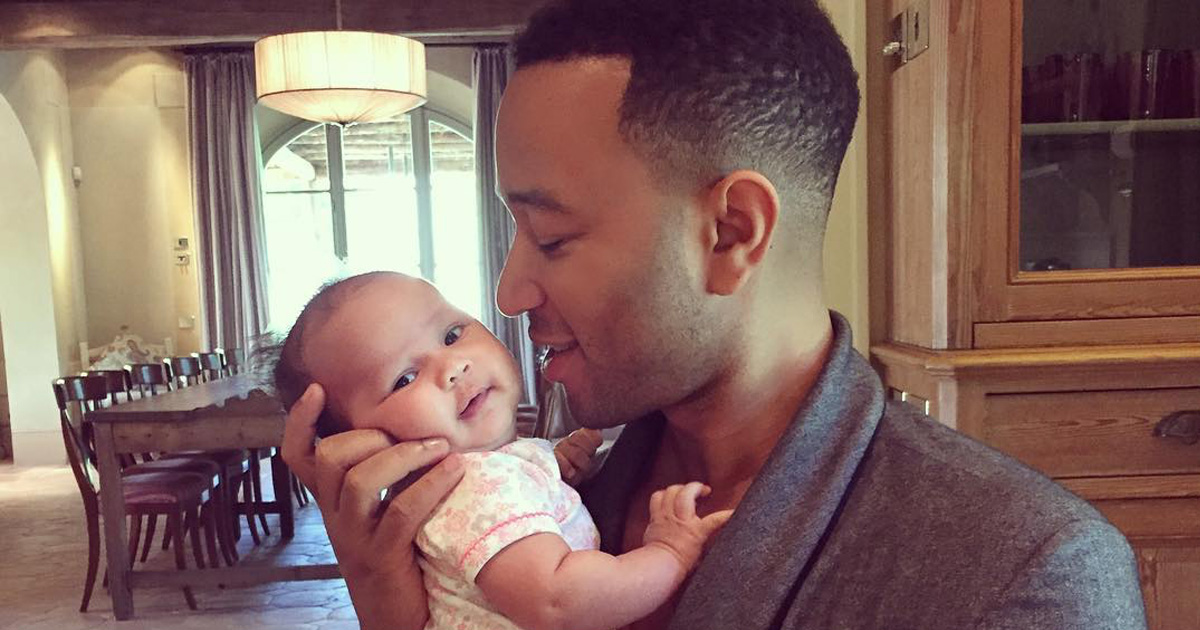John Legend shared a picture of baby Luna and she looks so cute and comfy