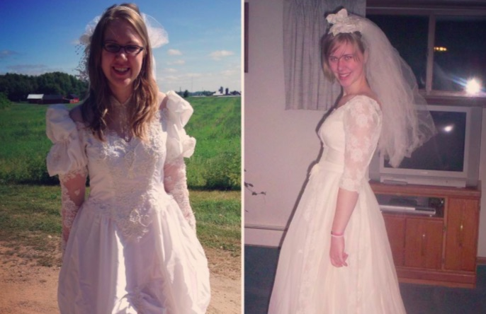 Women wearing their mother's wedding dresses will give you so many feels