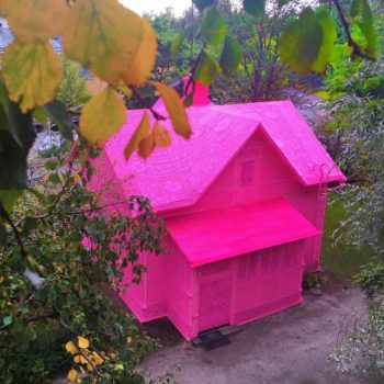 #Goals: This entire house in Finland is covered in bright pink crochet