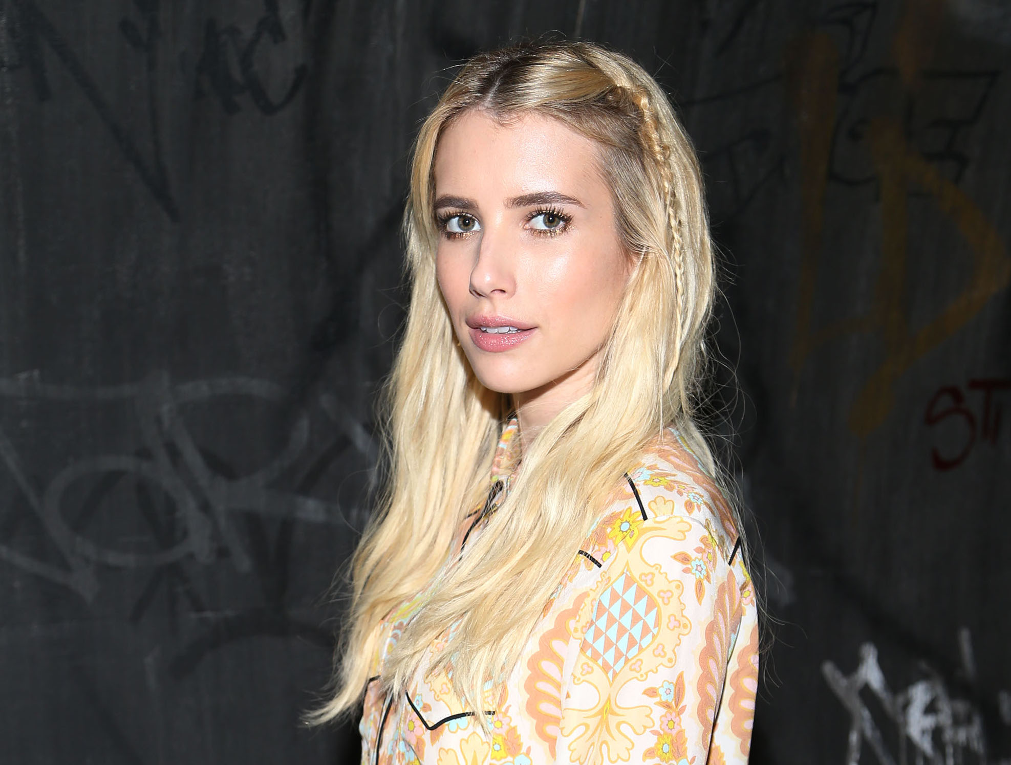 Emma Roberts looks like a pastel go-go dancer at New York Fashion Week