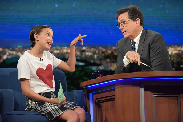 Millie Bobby Brown and Stephen Colbert imagine a different -- and hiliarious -- use for Eleven's powers in this parody