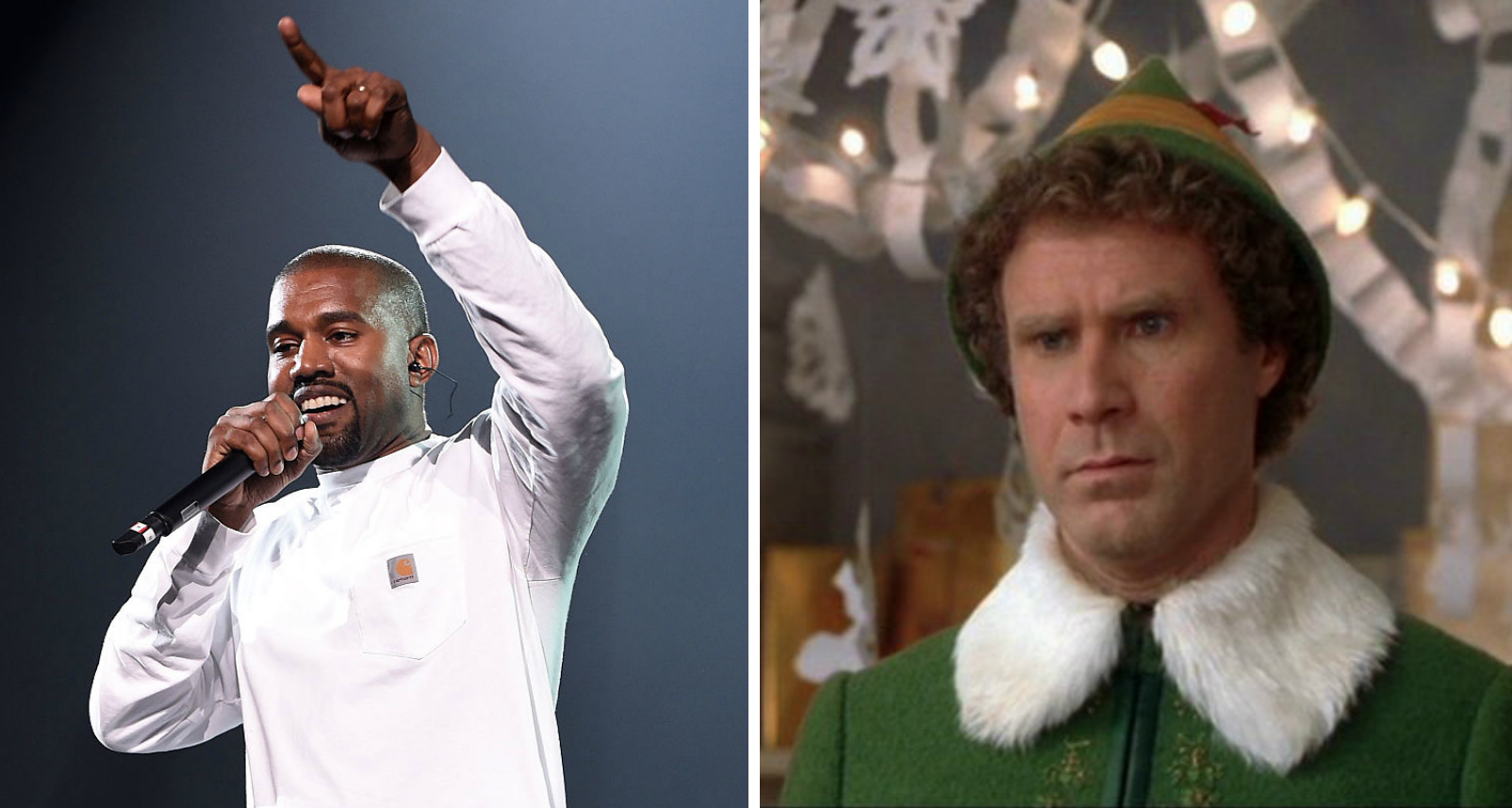 "Kanye West wants to be just like Will Ferrell in ""Elf"" — but will he stick to the four main food groups?"