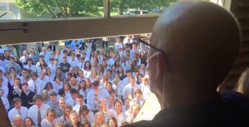 This video of 400 students serenading a teacher battling cancer is going to break your heart