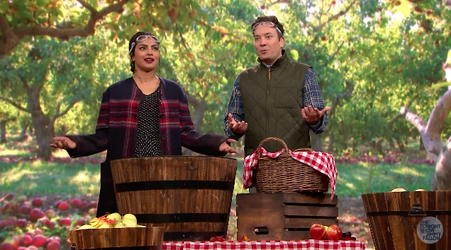 Priyanka Chopra bobs for apples with Jimmy Fallon and we guess that means it's fall!