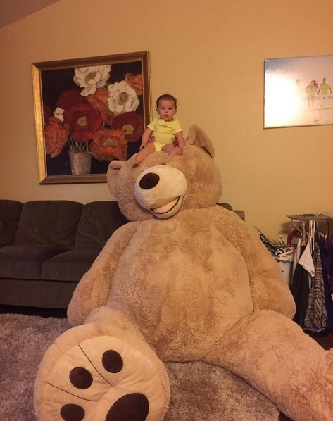 A grandpa bought a massive bear for his baby granddaughter and it's the cutest thing you've ever seen