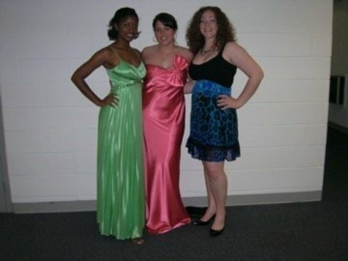 Me (left) posing with my roomies before senior gala in college.