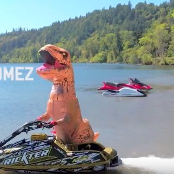 This hilarious video of a T-rex on jet skis is exactly what we need right now