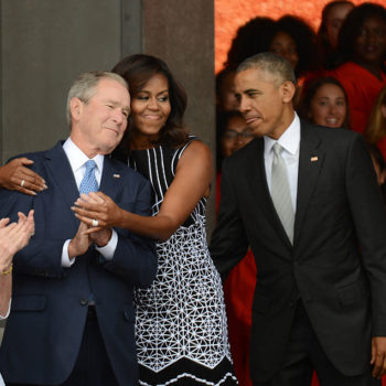 The Obamas and President Bush at the National Museum of African American History opening is making us a little misty, guys