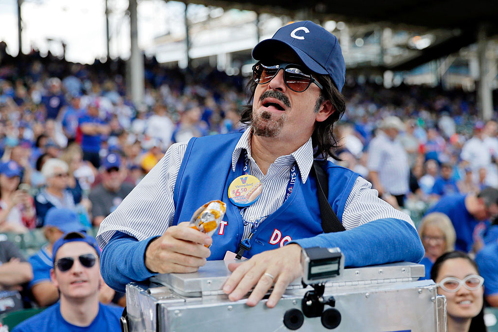 Um, Stephen Colbert was a hot dog vendor at a Cubs game because he's seriously awesome