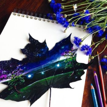 This teen artist turns leaves into colorful magic and the results are beyond brilliant