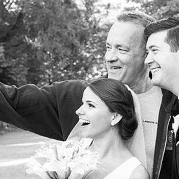 Tom Hanks totally crashed this couple's wedding, stuck around to take selfies